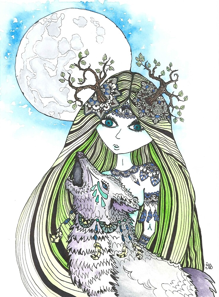 Forest wolf spirit by Ibubblesart