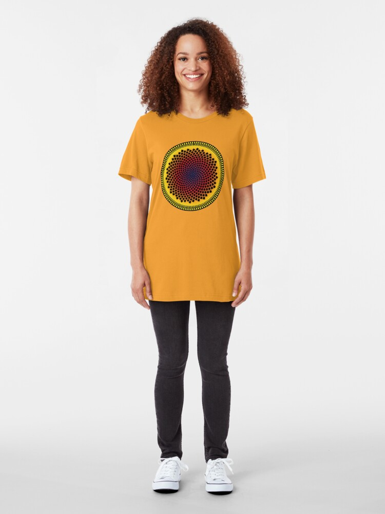 Alternate view of Sunflower Fibonacci Fractal Spiral Slim Fit T-Shirt