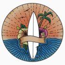 Surfing Hawaii Colour T Shirt by Fangpunk