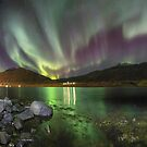 Fjord bathing in Northern Lights by Parasin