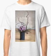 Hydrangea in Vase on Wooden Floor Watercolor Classic T-Shirt