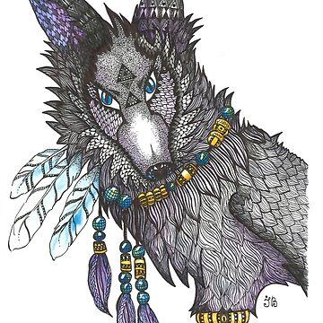 Totem Wolf zentangle by Ibubblesart