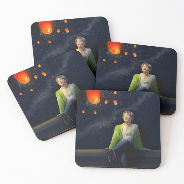 Jimin with 7 SkyLanterns  Coasters (Set of 4)