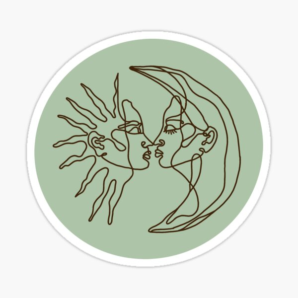 Sage Green Sun and Moon Line Drawing Sticker Sticker