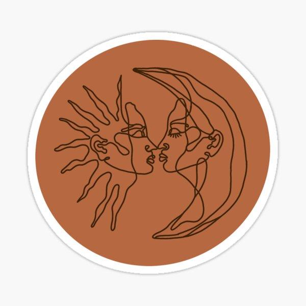 Terracotta Sun and Moon Line Drawing Sticker Sticker