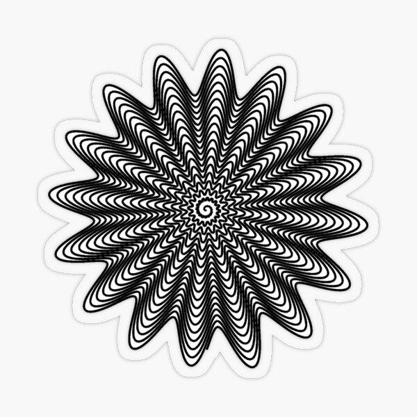 Trippy Decorative Wave Spiral Pattern Transparent Sticker