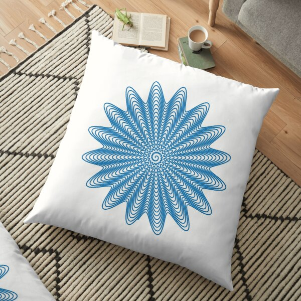 Trippy Decorative Wave Spiral Pattern Floor Pillow