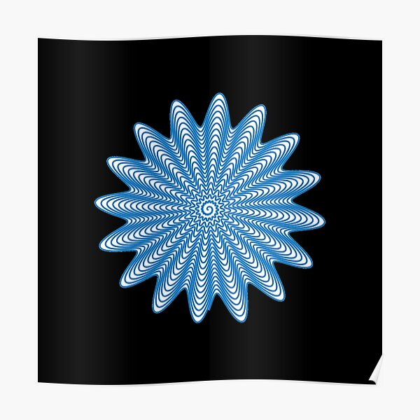 Trippy Decorative Wave Spiral Pattern Poster