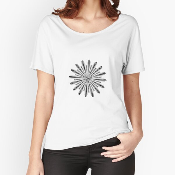 Trippy Decorative Wave Spiral Pattern Relaxed Fit T-Shirt