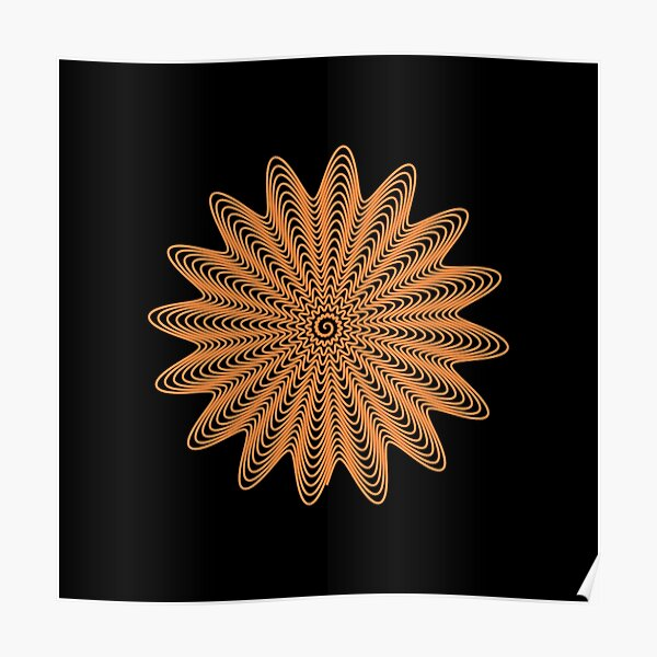 Trippy Decorative Wave Spiral Pattern Poster