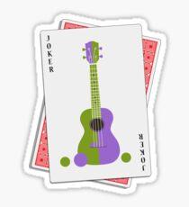 Ukulele Joker Playing Card Sticker