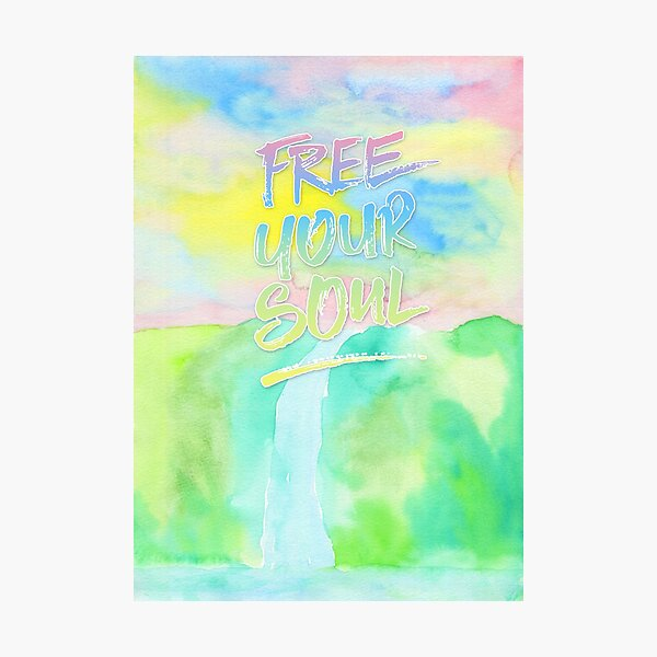 Free Your Soul Watercolor Colorful Spring Waterfall Painting Photographic Print
