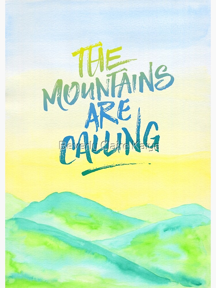 The Mountains Are Calling Yellow Blue Sky Watercolor Painting by beverlyclaire
