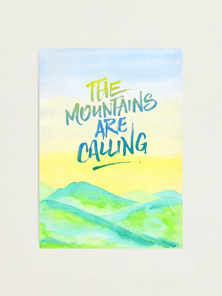 Alternate view of The Mountains Are Calling Yellow Blue Sky Watercolor Painting Photographic Print