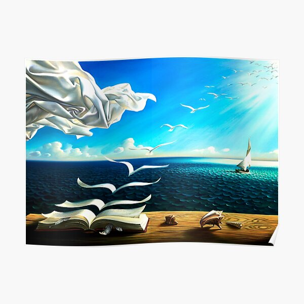 Book to birds: Vintage Fantasy Surreal Print by Dali Poster