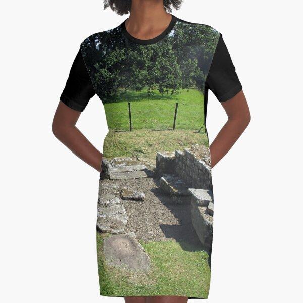 M.I. #118 |☼| Abundant Trees Beyond Rocky Remains - Shot 1 (Hadrian's Wall) Graphic T-Shirt Dress