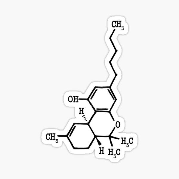 Marihuana - Estructura Molecular de THC Pegatina