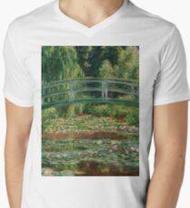 1899-Claude Monet-The Japanese Footbridge and the Water Lily Pool, Giverny-89 x 93 V-Neck T-Shirt