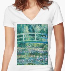 1899-Claude Monet-Water Lilies and Japanese Bridge Women's Fitted V-Neck T-Shirt