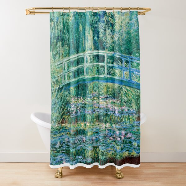 1899-Claude Monet-Water Lilies and Japanese Bridge Shower Curtain