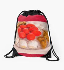 Happy Greek Easter With Easter Food  Drawstring Bag