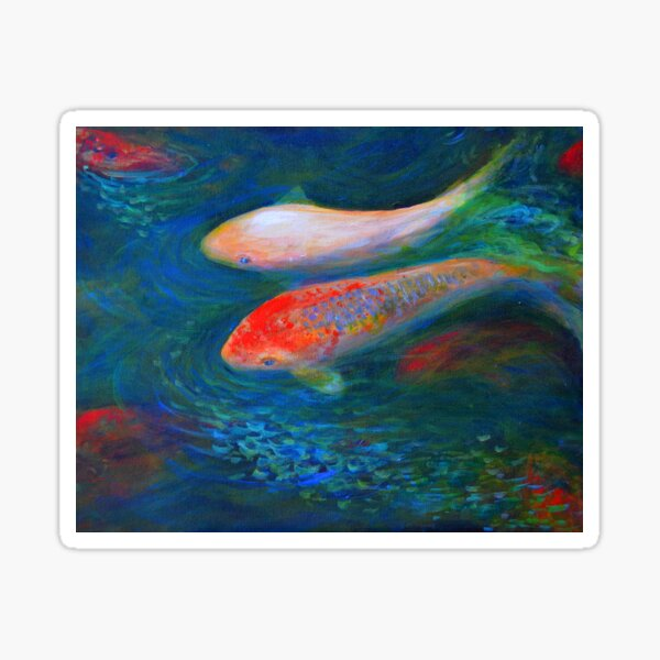 Two koi fish in a pond Sticker