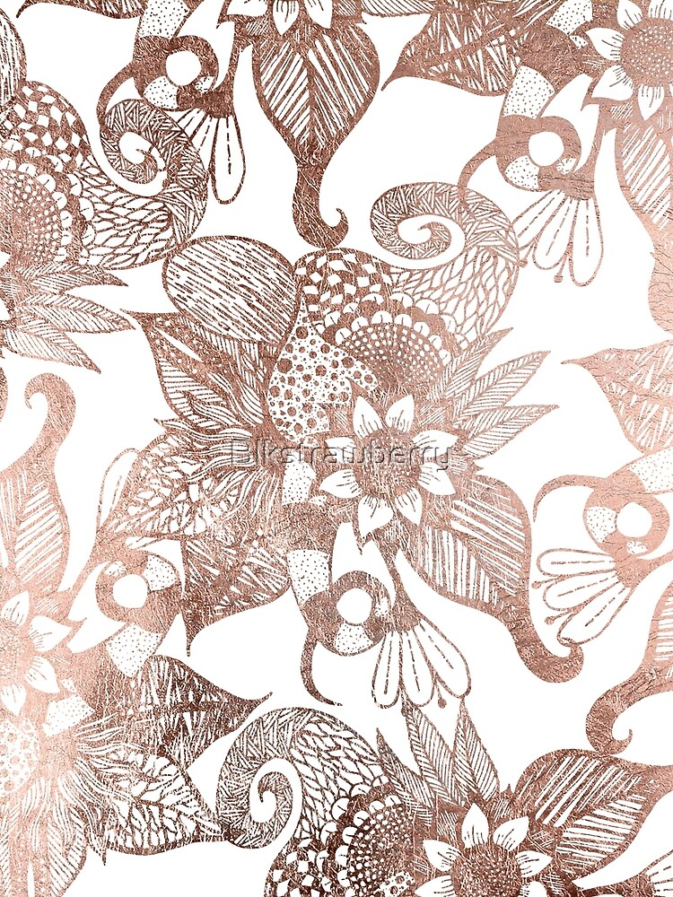 Vintage Faux Rose Gold Rustic Floral Drawings by Blkstrawberry