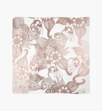 Vintage Faux Rose Gold Rustic Floral Drawings Scarf
