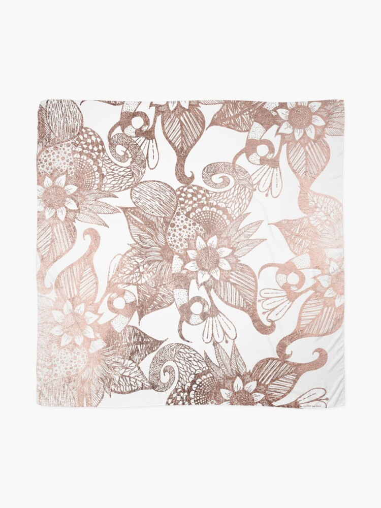 Alternate view of Vintage Faux Rose Gold Rustic Floral Drawings Scarf