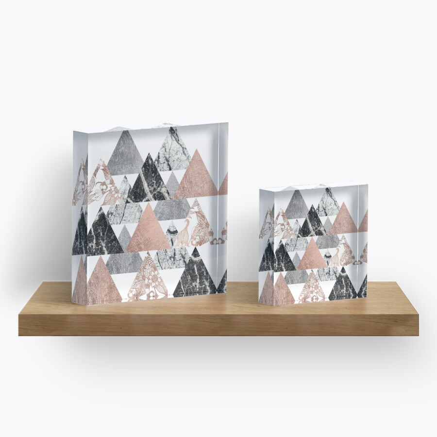 Buy marble rose gold silver and floral geo triangles rectangular - Marble Rose Gold Silver And Floral Geo Triangles