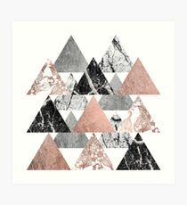 Marble Rose Gold Silver and Floral Geo Triangles Art Print