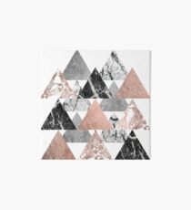 Marble Rose Gold Silver and Floral Geo Triangles Art Board