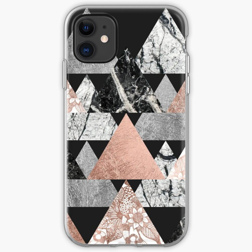 Marble Rose Gold Silver y Floral Geo Triangles Funda y vinilo para iPhone