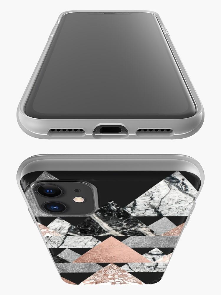 Vista alternativa de Funda y vinilo para iPhone Marble Rose Gold Silver y Floral Geo Triangles