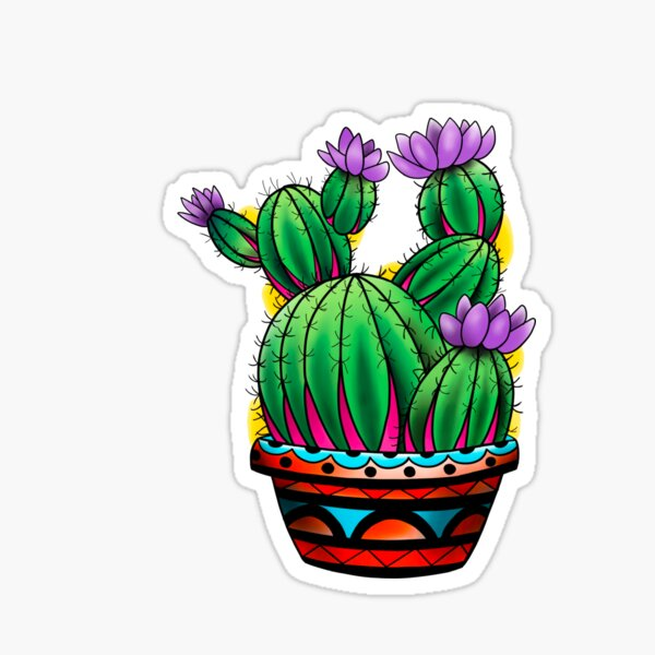 Green and Pink Flowering South West Cactus  Sticker