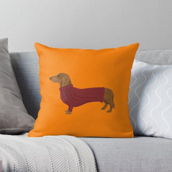 Dachshund in Red jumper on Orange Throw Pillow