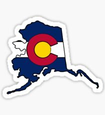 Alaska outline Colorado flag Sticker