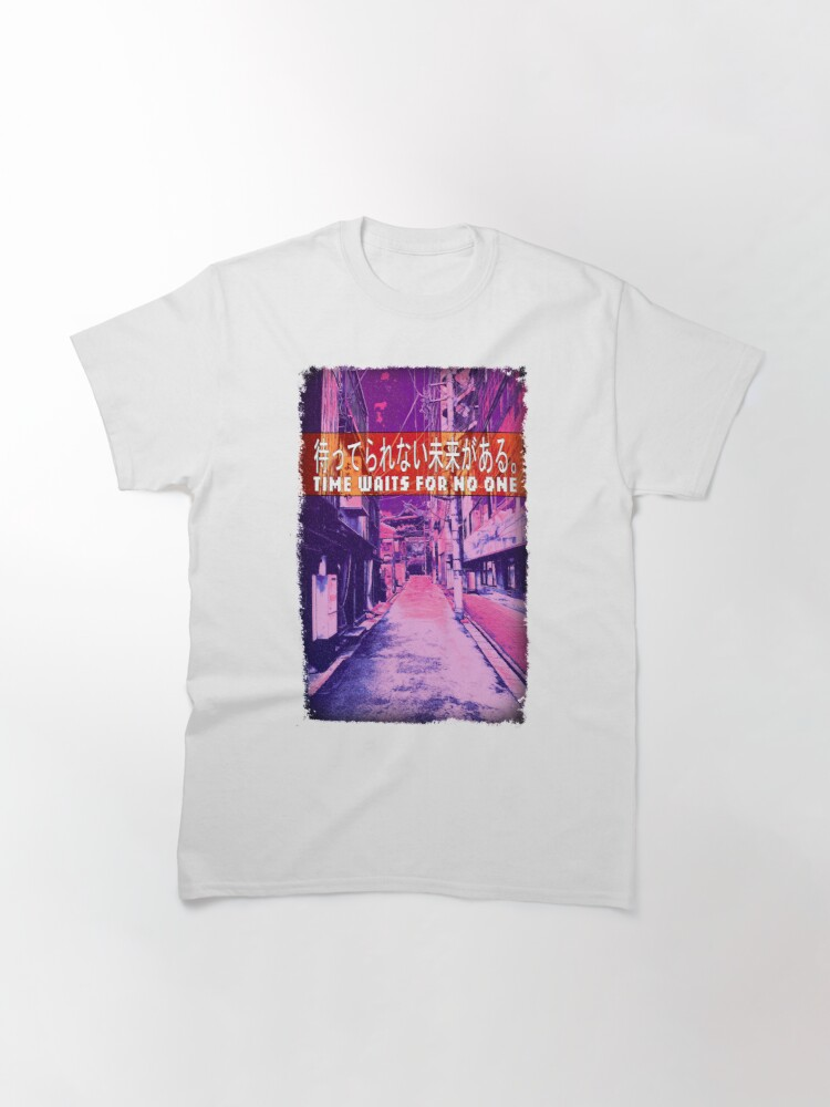 Alternate view of Time Waits For No One - Sad quote with streetscape background. Classic T-Shirt