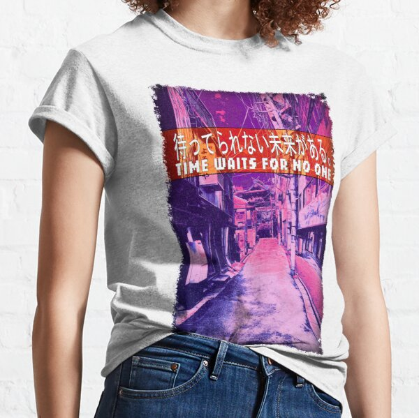 Time Waits For No One - Sad quote with streetscape background. Classic T-Shirt