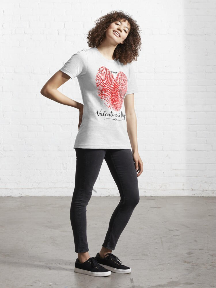 Alternate view of Valentines day Valentine day finger print heart guitar Essential T-Shirt