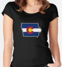Iowa outline Colorado flag Women's Fitted Scoop T-Shirt