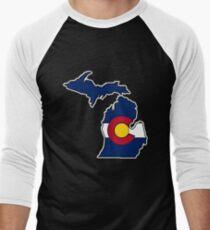 Michigan outline Colorado flag Men's Baseball ¾ T-Shirt
