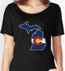 Michigan outline Colorado flag Women's Relaxed Fit T-Shirt