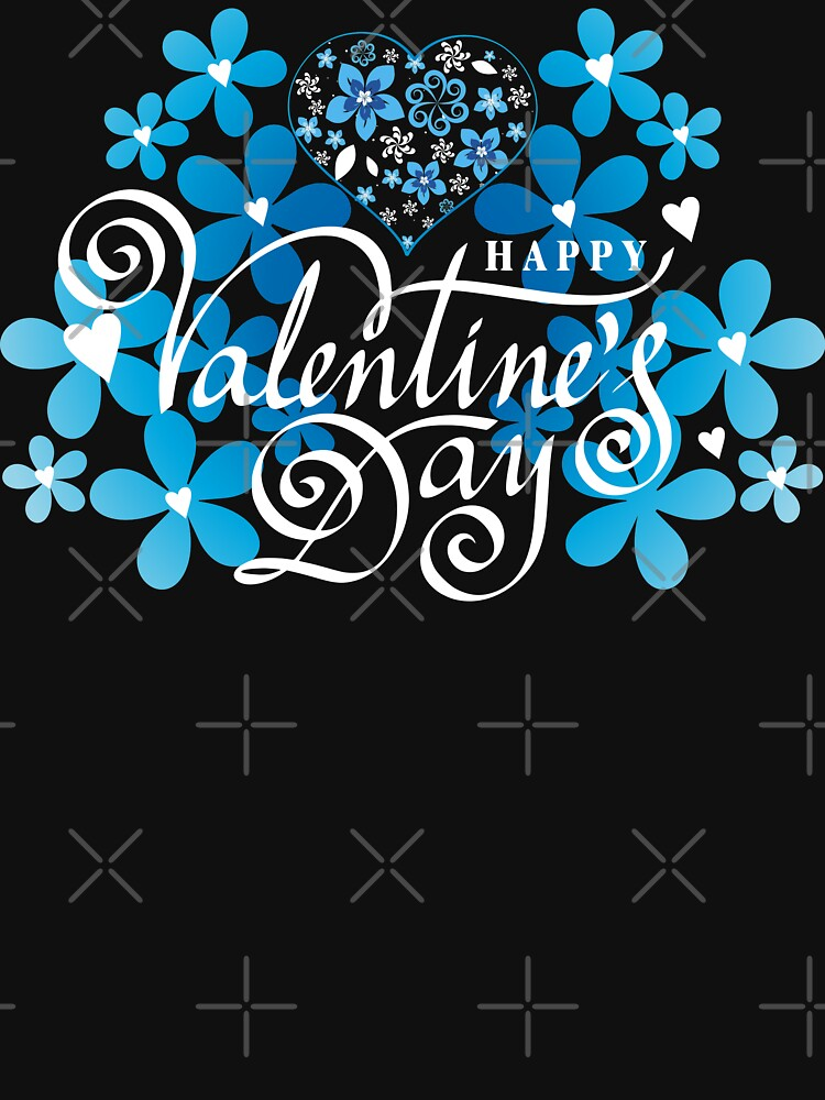 Valentines day Valentine day blue flowers with heart by MickyDeeTees