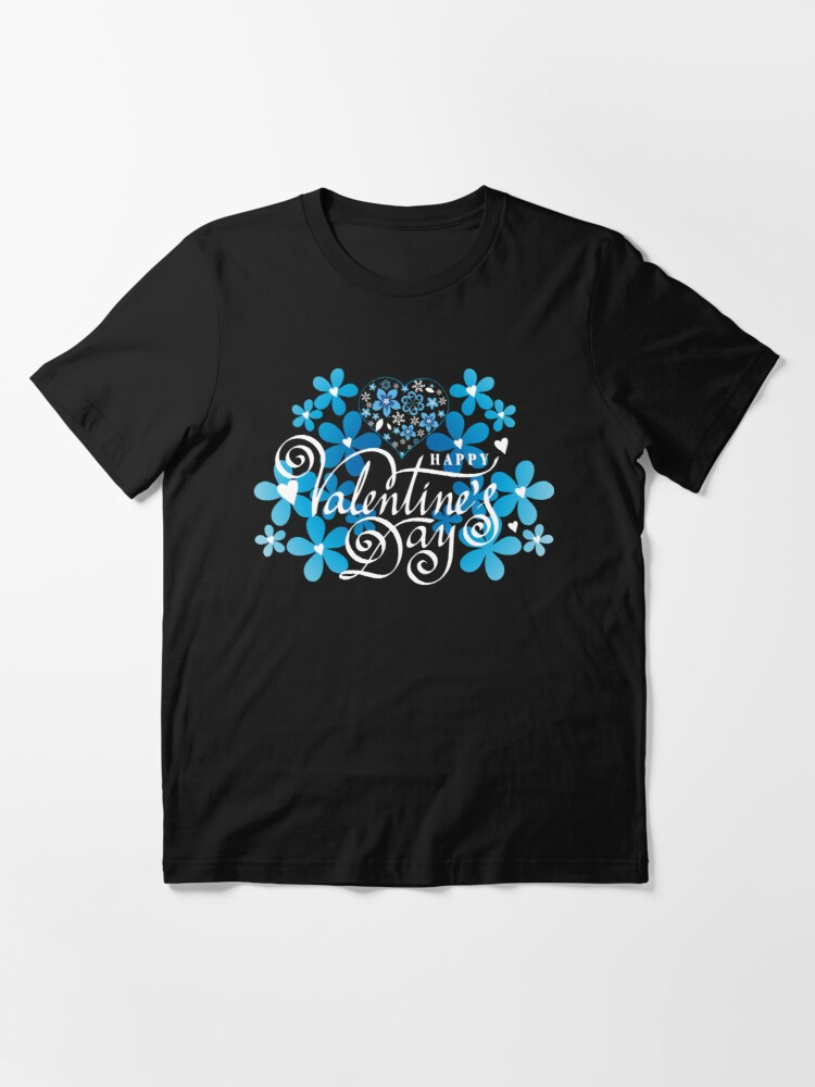 Alternate view of Valentines day Valentine day blue flowers with heart Essential T-Shirt