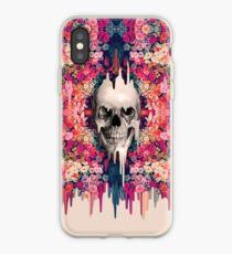 Seeing color, melting floral skull iPhone Case