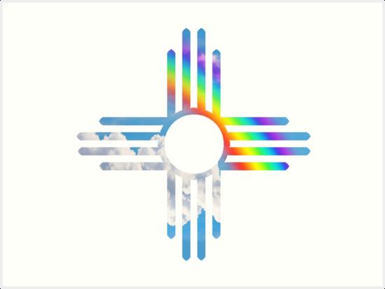 Rainbow Sky Zia Symbol Art Prints By Michelle Smith Redbubble