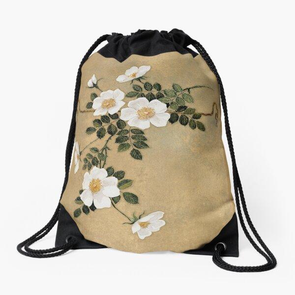 White Roses on gold Drawstring Bag