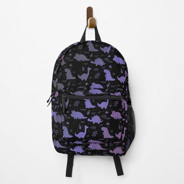 Funny Dinosaurs Purple Version Black Backpack