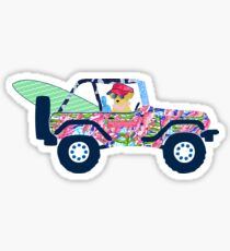 Pegatina Preppy Jeep Golden Retriever Puppy - Island Vacation